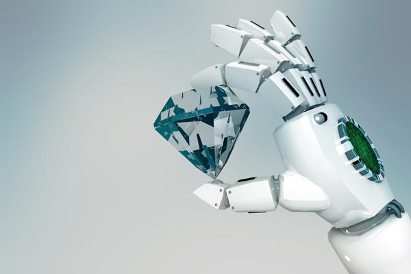 robot holding a diamond